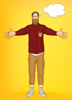 Promo banner vorlage mit hipster mann