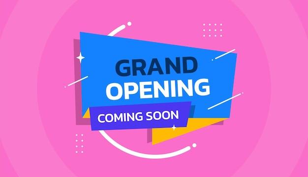Promo-hintergrund-design-vorlage für die eröffnung bald