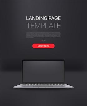 Promo-landingpage-vorlage mit modernem laptop. vorlage mit beispieltext und schaltfläche