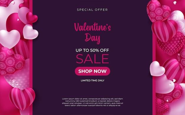 Promo web banner für valentinstag sale