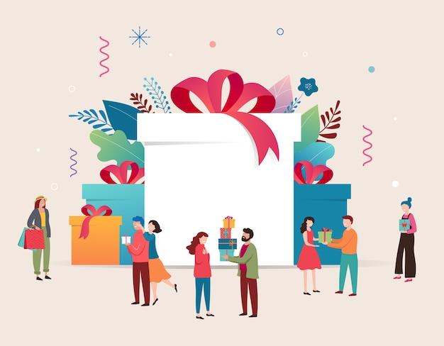 Promo-weihnachtskarte, neujahrsbanner, verkaufsplakat und flyer mit riesigen geschenkboxen und kleinen leuten, männern und frauen