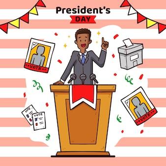 Promo zum präsidententag mit gezeichneter illustration