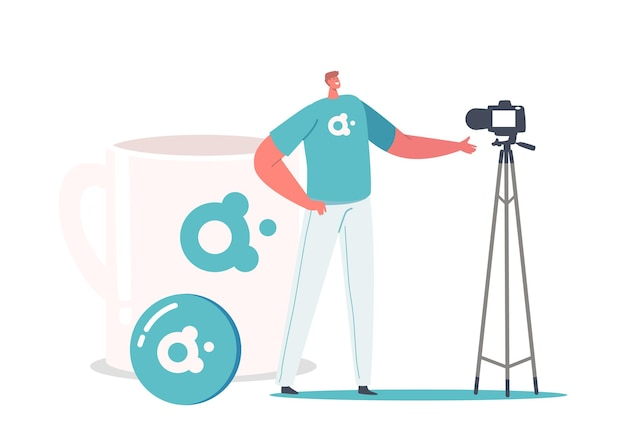 Promoter männlicher charakter präsentiert markenwerbungskampagne auf videokamera, tiny man stand bei huge cup mit firmenlogo-label. werbeartikel-konzept. cartoon-menschen-vektor-illustration
