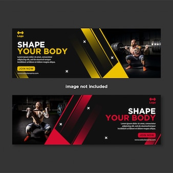 Promotion gym und fitness social media banner facebook cover vorlage