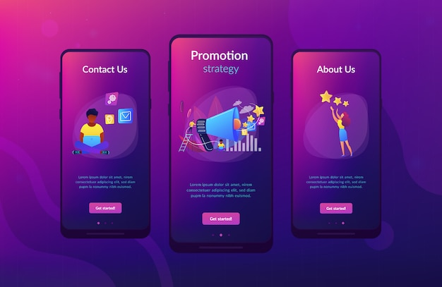 Promotion-strategie-app-interface-vorlage