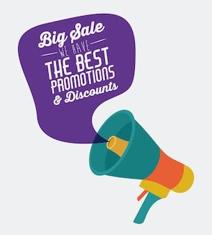 Promotions und rabatte nachricht digitales design