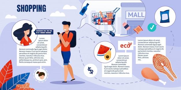 Prompte infografik, einkaufen von öko-produkten im einkaufszentrum.