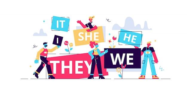 Pronomen illustration. flache winzige ersatzwörter personenkonzept. abstrakt spaß es, sie, wir, sie, es wort banner. richtige sprach- und grammatikkenntnisse. teil des wortsprachstudiums