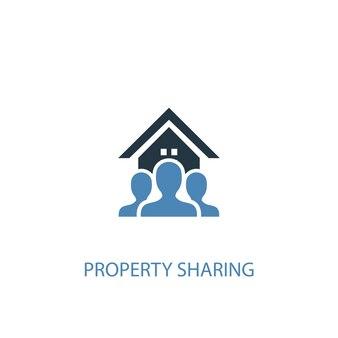 Property-sharing-konzept 2 farbiges symbol. einfache blaue elementillustration. symboldesign für die gemeinsame nutzung von eigentum. kann für web- und mobile ui/ux verwendet werden