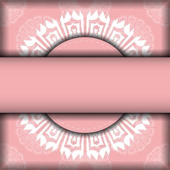 Prospekt in rosa mit griechischem weißen muster für die typografie vorbereitet.