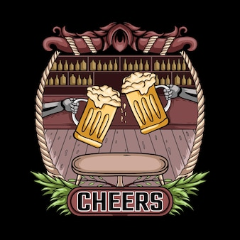 Prost bier vintage illustration