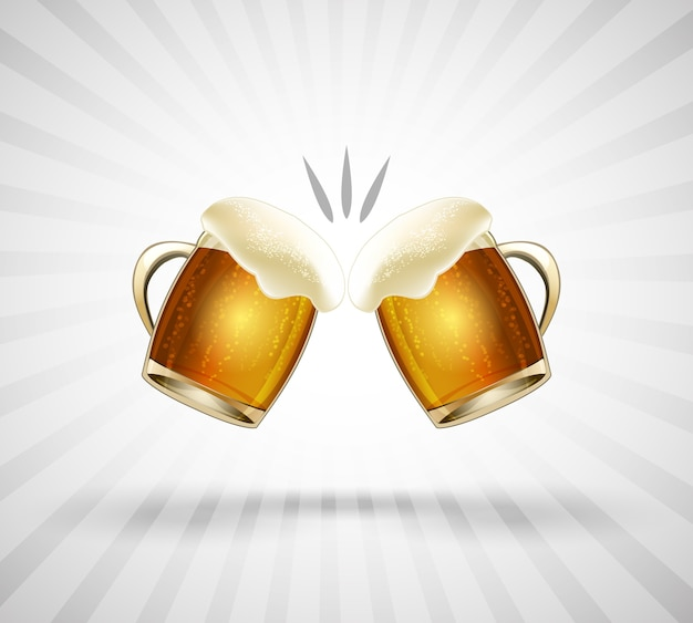 Prost symbol. zwei bis zum rand mit bierschaum gefüllte gläser. vektorillustration