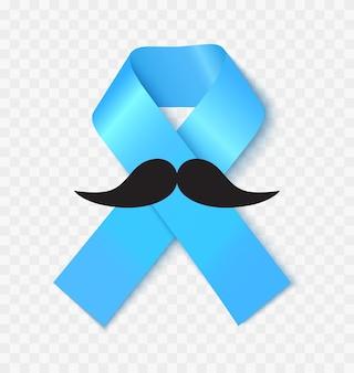 Prostatakrebs-bewusstseinsband realistische vektorillustration. männerkrankheitsvorbeugung und besorgnissymbol. solidarität mit männlichen medizinischen krankheiten. blaues seidenband auf transparentem hintergrund isoliert