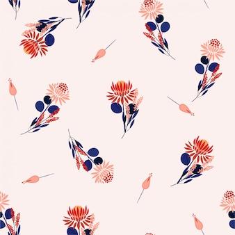 Protea blüht nahtlose musterblumen und -anlagen. zufälliges wiederholungsdesign für modestoffe, tapeten und alle drucke