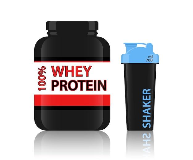 Protein jar molkeprotein shaker bottle protein pulver