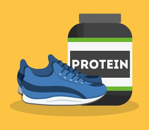 Proteinflasche und sportschuhe symbol