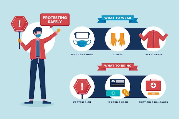 Protest gegen sicheres infografik-design