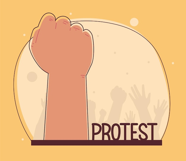 Protest mit erhobener hand