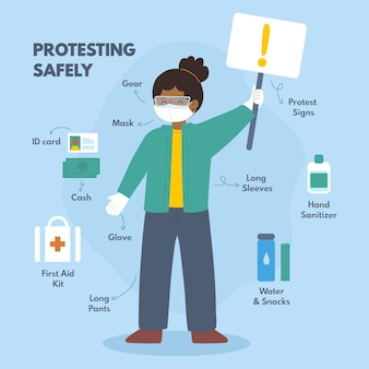 Protest sicher infografik thema