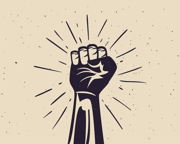 Protest ziehen und schwarze faust