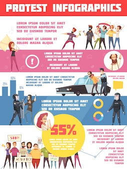 Protestaktionen infografiken layout