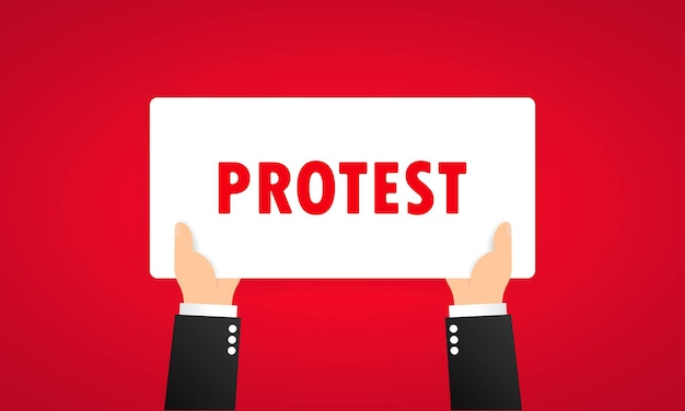 Protestbanner oder revolution, demonstration, manifestation unter dem motto. vektor