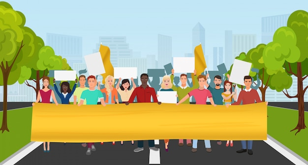Protestieren sie leute mit großem plakat auf demonstration