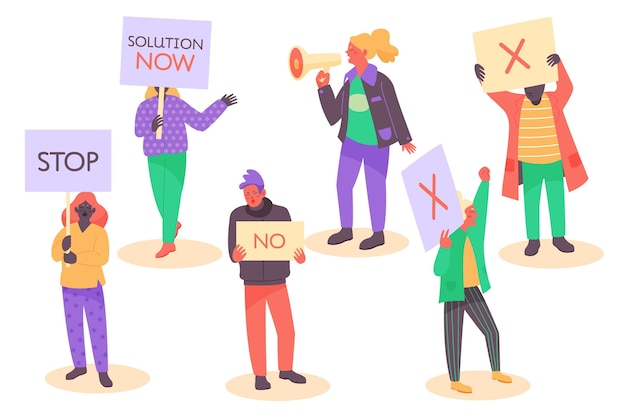 Protestierende gruppe von menschen mit plakaten