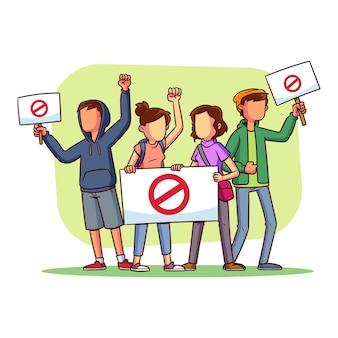 Protestierende menschen entwerfen