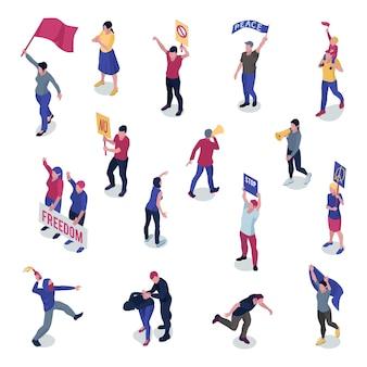 Protestierende menschen mit plakaten und flaggen während der manifestation oder streikposten isometrisch
