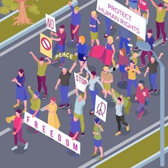 Protestierende menschen mit plakaten und flaggen während der straßenprozession im schutz der isometrischen vektorillustration der menschenrechte