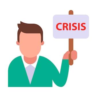 Protestierender mann, der ein krisenzeichen hält.