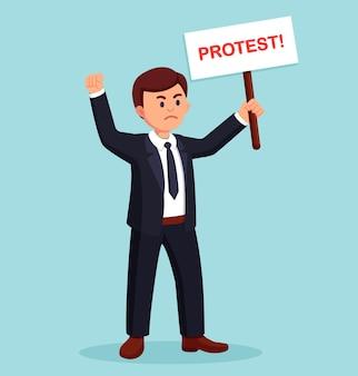 Protestierender mann hält plakate, protestzeichen für streik oder demonstration. politische versammlung, marsch, parade