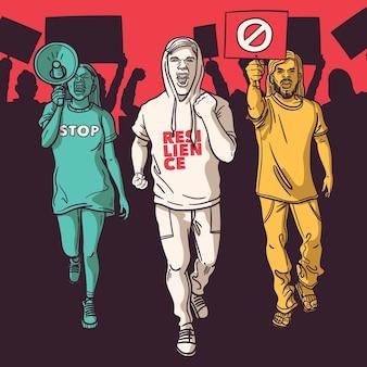 Protestierendes menschenkonzept