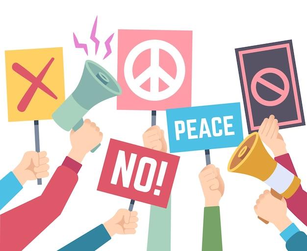 Protestkonzept. hände halten verschiedene banner und megaphone, protest streikposten, rechte menschen politische krise plakate menschliche gruppe unterzeichnung halten papier illustration