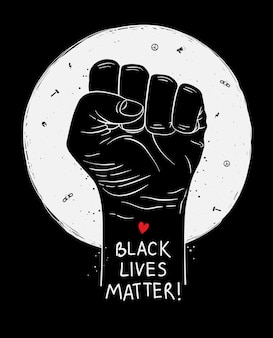 Protestplakat mit text black lives matter, blm und mit erhobener faust. illustration
