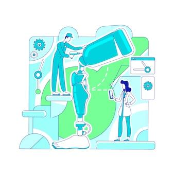 Prothetik labor dünne linie konzept illustration