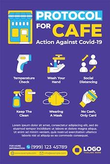 Protokoll für café-poster im flachen design-stil