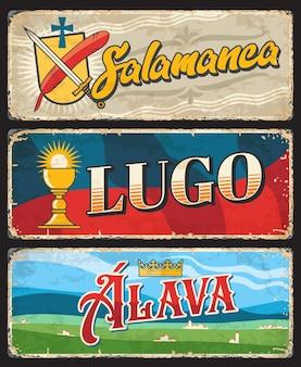 Provinzen salamanca, lugo und alava spanien blechschild