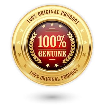 Prozent echtes produkt - goldene insignien (medaille)