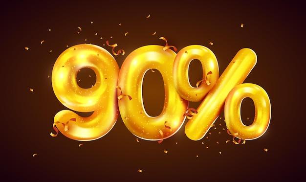 Prozent rabatt auf kreative zusammensetzung von goldenen ballons mega-verkauf oder neunzig prozent bonussymbol mit konfetti-verkaufsbanner
