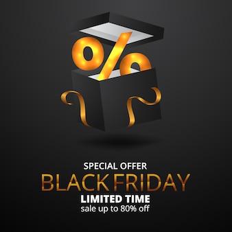 Prozentsatz der leganten geschenkbox für das banner des black friday sale-angebots
