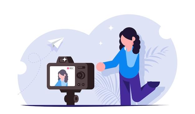Prozess der aufnahme von videoinhalten für einen blogger oder streamer