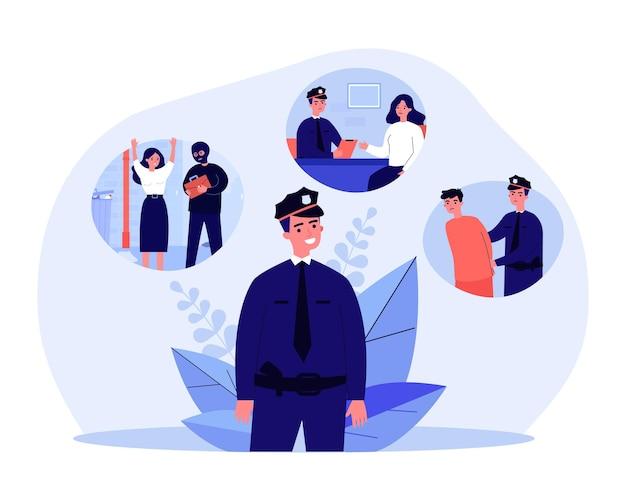 Prozess des polizeibeamten, der dieb fängt polizist, der einer ausgeraubten frau zuhört und kriminelle flache vektorgrafiken festnimmt. beruf, sicherheit, justizkonzept für banner- oder website-design