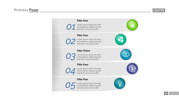 Prozess-diagrammschablone mit fünf schritten geschäftsanflug. visualisierung von geschäftsdaten