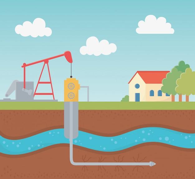 Prozess-explorations-fracking für bohrturm-tanks