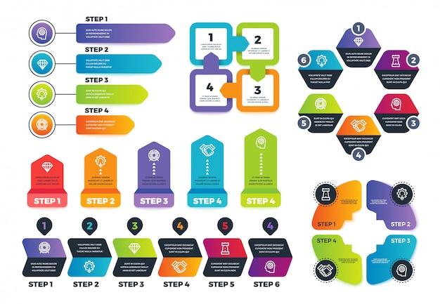 Prozess-infografiken. geschäft infographic elemente, strategiekarte und zeichen für finanzdarstellung. vektor vorlage