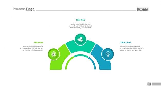 Prozessdiagramm mit drei elementen folie