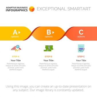 Prozessdiagramm mit drei schritten vorlage
