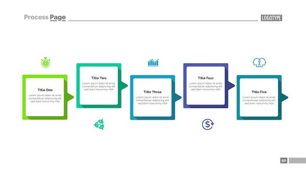 Prozessdiagramm mit vorlage mit fünf schritten